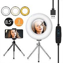 """LED-ringlicht 8,5""""met statief en flexibele telefoonhouder, bureau-make-up selfie-ringlicht met dimbare 3 lichtmodi en 10 h..."""
