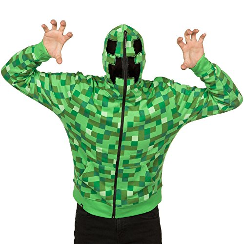JINX Minecraft Men's Creeper Zip-Up Costume Hoodie, with Full Face Mask, Green, Large