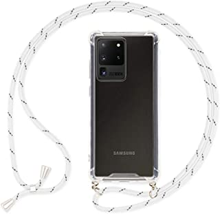 NALIA Carcasa con Cuerda Compatible con Samsung Galaxy S20 Ultra Funda, Transparente Hard-Case & Correa Colgante para Colgar, Protectora Cover & Cordon para Llevar en el Cuello, Color:Blanco