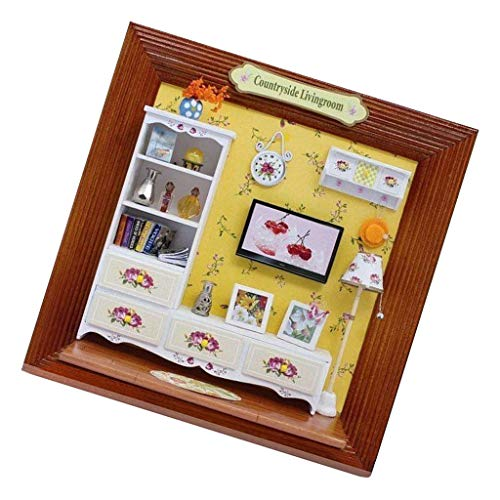 DIY Wooden Framed Dollhouse Furniture Miniature Gift Countryside Living Room