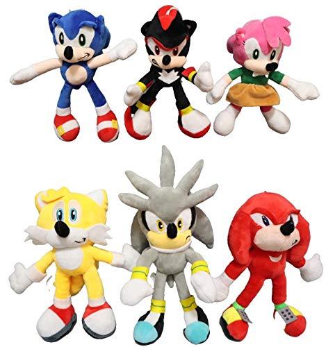 Sonic Stuffed Doll Set 6pcs/lot CM Doll World Adventure Sonic The Werehog Soft Cartoon Animal Stuffed Plush Toy Gift For Children