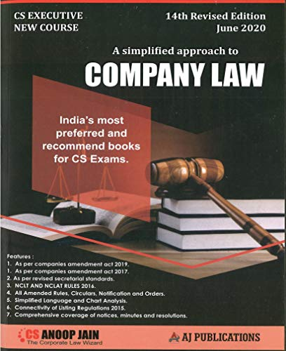 CS Executive Company Law New Syllabus By Anoop Jain Applicable for June 2020 Exam