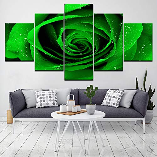 ZXCVWY groene roos geurende bloem 5 stuks canvas behang modern plakaat kunst schilderij voor woonkamer huis decoratie