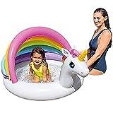 Cama de natación Inflable Unicorn Shade Bebé Piscina Inflable Toldo Piscina de paletas Unicornio Asiento de natación Barco para niños Ayuda de flotabilidad para niños con protecció
