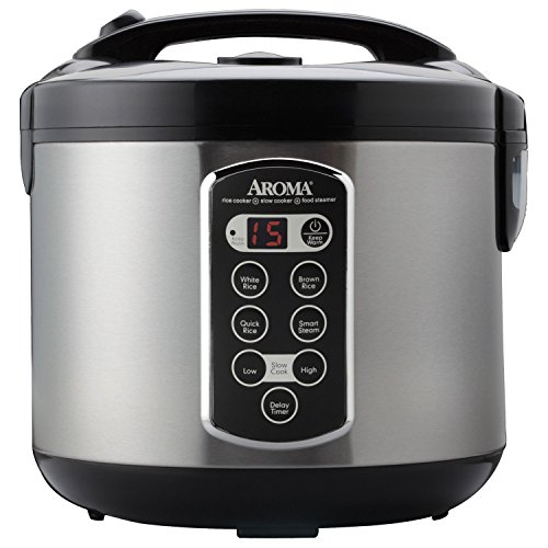 Aroma Housewares ARC-2000ASB Professional 10-Cup(un-cooked)/20-Cup (Cooked) Digital Rice Cooker,Silver