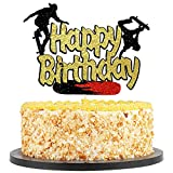 QIYNAO Skateboard Happy Birthday Cake Topper,Skateboard Cake Topper for boy Girl Birthday, Skateboard Birthday Party Cake Decorations, Sport Birthday Party Supplies( Black gold glitter)
