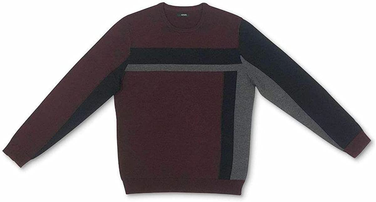 Alfani Mens Sweater Vertical Blocked Crewneck Pullover Red XL