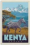 Leinwand Bilder Vintage Reise Poster Kenia, Afrika Leinwand