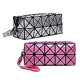 Geometric Makeup Bags Multipurpose Iridescent Colour Changing Shard Lattice Design Toiletry Organizer Handbag