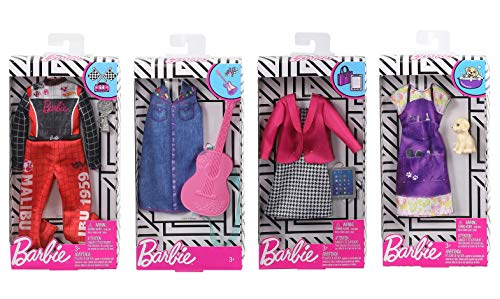 Barbie Dolls Barbie Clothes – Cute Career Barbie Accessories Set Bundle – Barbie Doll Racecar Jumpsuit, Groomer, Businesswoman & Musician Barbie Doll Clothes & Accessories – Universal Fit