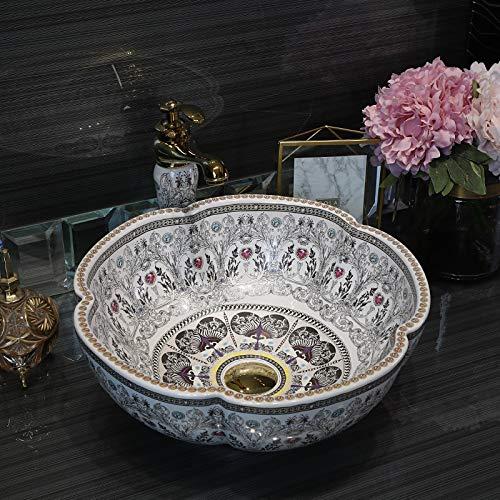 China forma de flor cerámica encima del contador baño recipiente lavabo lavabo, un fregadero solo (blanco)