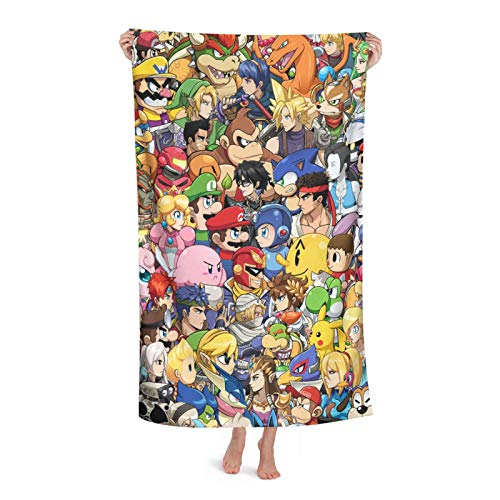 Super Smash Mario Sonic Mega Man Pikachu Toalla de baño Niños Playa Natación Casa Hotel Suave Extra Grande Fibra Superfina Para Niñas Niños 32X52In