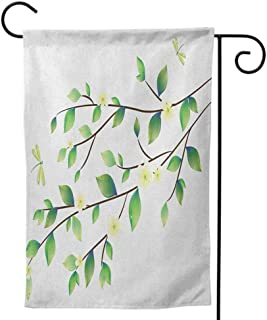 Small Holiday Yard Flags, Nice Thick Fabric Double Sided for All Seasons & Holidays Dragonfly Lake Flowers Leaves on Abstract Backdrop Image Bird Like Bugs Dark Green and Pale Green
