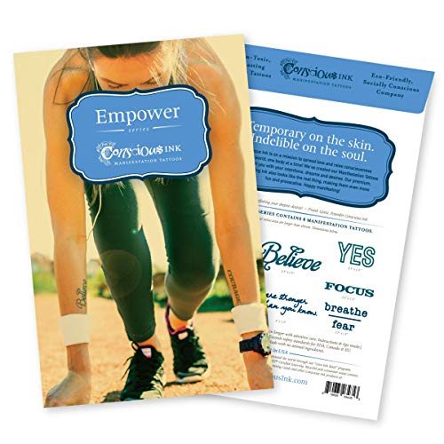 Conscious Ink Empower Manifestation Tattoo 8-Pack, 1 Pack of 8 Inspirational Temporary Tattoos