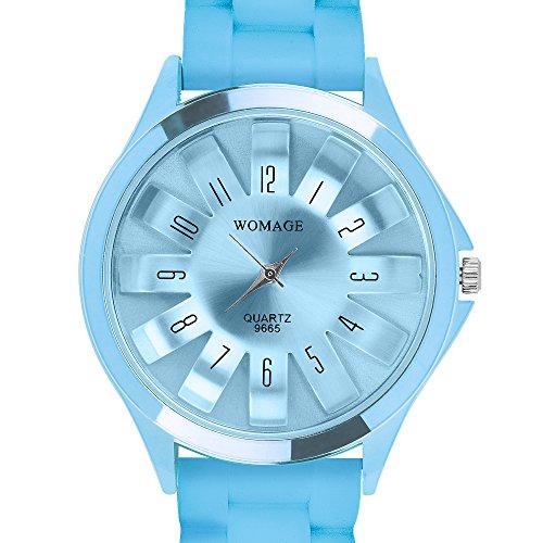 Taffstyle Unisex Armbanduhr Analog Quarz mit Silikon-Armband Metall Sportuhr Damen Herren Uhr Türkis