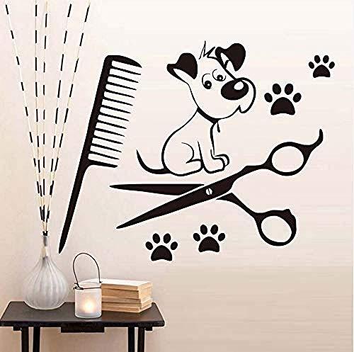 Art muurstickers schattige hond poten en kam schaar Vinyl muurstickers kinderen S kamer Art Decal huisdier winkel behang slaapkamer muurstickers huis decoratie 44X35Cm
