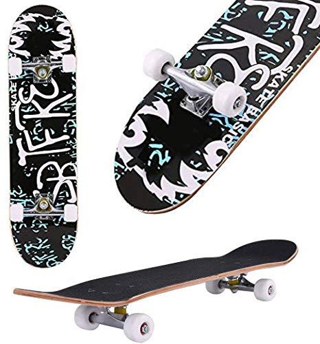 "Skateboard, 31"" x 8"" Complete PRO Skateboard, 9 Layer Canadian Maple Wood Double Kick Tricks Skate Board Concave Design for Beginner,Gift for Kids Boys Girls Youths (6 - Letter)"