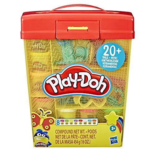 Hasbro Play-Doh - Secchiello Deluxe, Playset con 8 Vasetti di Pasta da Modellare, Accessori e Custodia