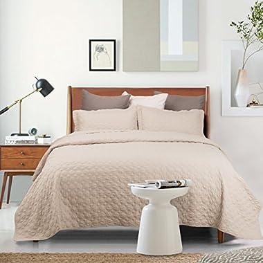 Bedsure Coverlet Set Full/Queen Size Quilt Set Khaki Microfiber by
