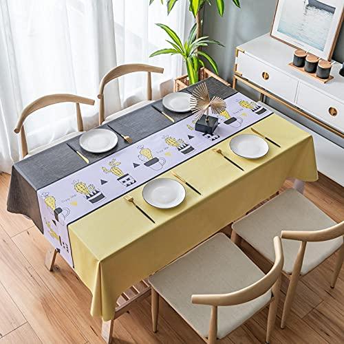 Mantel Amarillo Moderno Antimanchas Impermeable Manteles para Cocina Comedor Bodas Fiesta Buffet Navidad Cumpleaños Restaurante Oficinas Decoración del Hogar (Cactus En Maceta,90x90 cm)