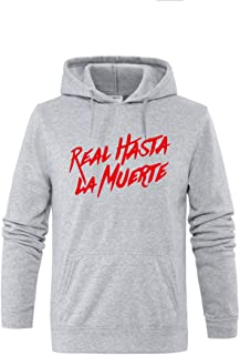 Letter Hoodies Real Hasta La Muerte Unisex Fleece Hoody Sweatshirt White Black Print Casual Harajuku Streetwear Clothing