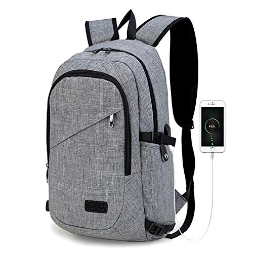 Kono Laptop Backpack with USB Charging Port Business Notebook Anti-Theft Rucksack 15 Inch Tablets Daypack Water Resistant Bag for Work College (Grey)