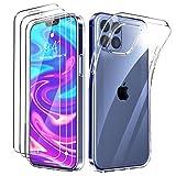 Oududianzi - Cover Compatibile con iPhone 6.7 Pollici 12 PRO Max + [3X Pellicola Protettiva in Vetro Temperato], Custodia Morbida Chiaro Sottile Case in Silicone Gel TPU - Trasparente