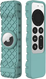 LYWHL for Apple TV 4K 2021 Remote Silicone Cover Case with AirTag Sleeve, Anti-Slip Anti-Scratch Shockproof Full Body Protective Cover for Apple TV 4K Siri Remote Control 2021 - Green
