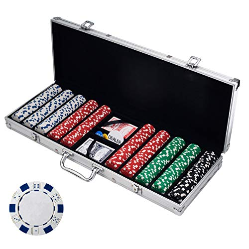 Trademark Poker Poker Chip Set for Texas Holdem, Blackjack, Gambling with Carrying Case, Cards, Buttons and Dice Style Casino Chips (11.5 Gram)