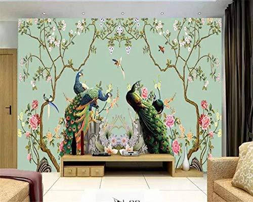 NIdezuiai Muurschildering Aanpassen van 4D-behang, dier mode bloem en vogel pauw grote zijde wandafbeeldingen Hd afdrukken muur deco poster afbeelding kinderkamer - kleuterschool spel decoratie 24in×48in 60cm(H)×120cm(W) zoals getoond