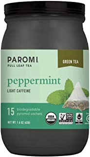 Paromi Tea Organic Peppermint Green Tea, 15 Pyramid Tea Bags - Non-GMO