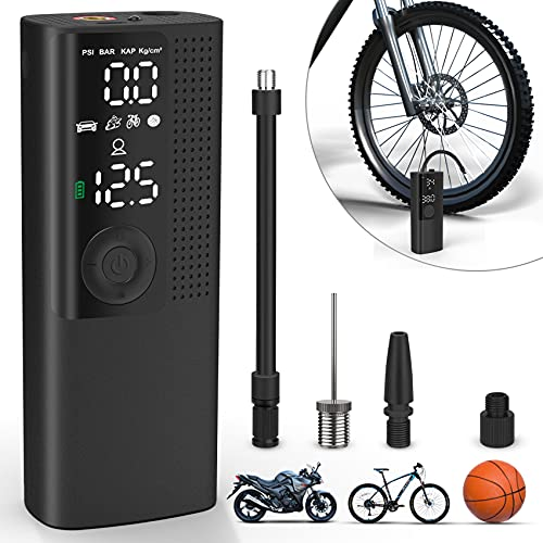 Vastar Portable Air Compressor,High Precision Air Pressure Sensor,Electric Pump 2000MAH,120PSI,Trachea Storage,with Led Light and LCD Display for Car Bicycles Tires,Motorcycles, Balls