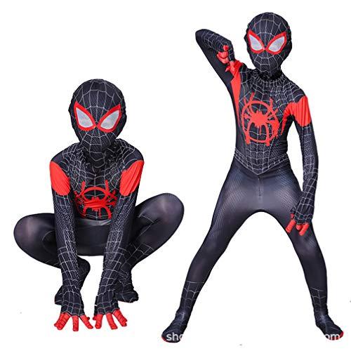 VARY Disfraz Spiderman Miles Morales Mono Negro de Spiderman para Halloween y Fiestas de Cosplay,3XS/90~100cm