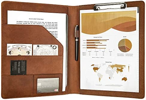 Handmade Vintage Padfolio Leather Clipboard Letter Size A4 Document Portfolio Organizer Business product image