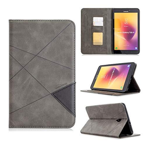 WLSM Funda para Samsung Galaxy Tab A 8.0 (2017) (8.0'), Estuche Protectora de Respaldo Duro Slim Stand Smart Cover Case para T380 (Wi-Fi)/T385 (4G/LTE) (with Card Slots), Gray