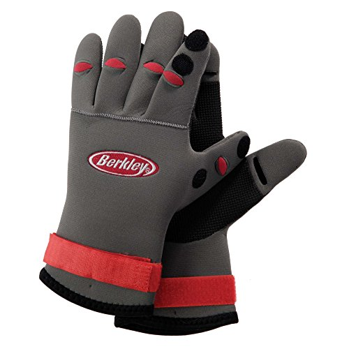Berkley BTNFGG NEOPENE FISH GRIP GLOVES Neoprene Fishing Gloves, Grey