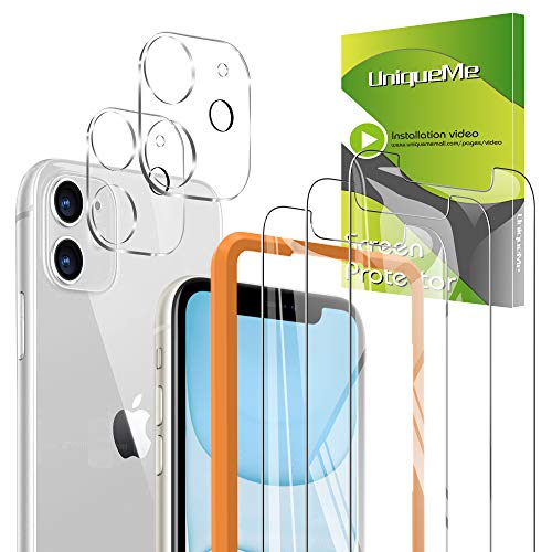 [5-Pack] UniqueMe 3 Pack Screen Protector for iPhone 11 Tempered Glass +2 Pack Camera Lens Protector High Definition 【Alignment Frame Easy 】【NewVersion】 AddCamerasFlashCircle【 6.1 inch】