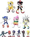 Juego de 11 piezas de peluche sónico Amy Rose Sonic-Shadow-Silver The Hedgehog Tails Knuckles The Echidna Soft Plush Animals Doll