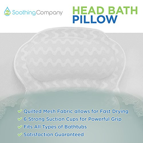 Bath Pillow By Soothing Company | Bathtub Cushion for Neck, Head, Shoulder and Back Support | Jacuzzi Hot Tub Headrest and Bath Tub Pillow Rest | Bath Accessories | Luxury Spa Comfort