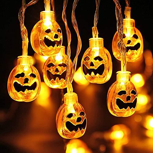 LED Kürbis Lichterkette, BrizLabs 3D Halloween Schnur Lichter 30 LED Karneval Deko Lichterketten Innen Batteriebetrieben Beleuchtung Dekoration für Weihnachten Party Cosplay, Warmweiß