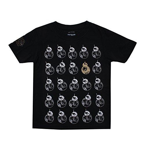 Star Wars Bb8 Pattern Camiseta, Negro (Black BLK), 7-8 Años para Niños