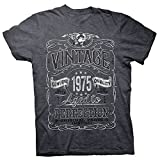 ShirtInvaders 46th Birthday Shirt for Men - Vintage 1975 Aged to Perfection - Dk. Heather-002-2X