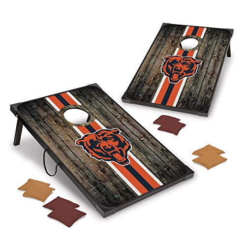 Wild Sports NFL Chicago Bears Deluxe MDF Cornhole Game Set 2' x 3', 9mm Thick with Corners and Aprons, Convenient Carry Handles and 8 Premium Bean Bags, Brown