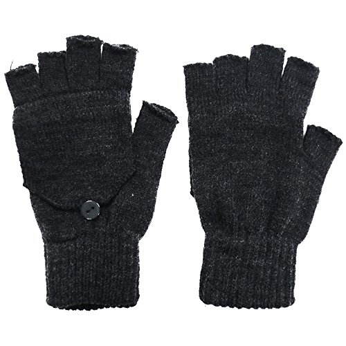 Winter Fingerless Gloves with Flap Cover Mitten Gloves, Charcoal