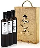 AGUS - Natives Olivenöl extra Reserva 100% Arbequina-Oliven - Besondere Auslese im Holzkiste - 3 x 500 ml - Frühe Ernte im Oktober auf unserem Landgut in Aragonien - Kaltpressung - Einmalige Pressung