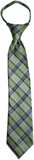 Children's Tie fits ages 4-9 years old Willow Green Plaid Boys Zipper Tie
