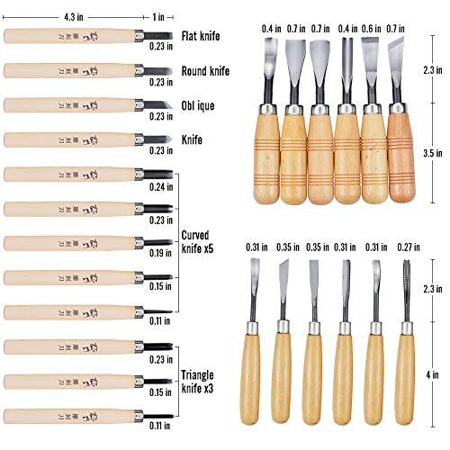 WAYCOM 24PCS Wood Knife Kit Set Wood Carving Kit,Professional Chisel Set, including Small, Middle, Large size (24PCS)