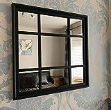 Espejo de pared con forma cuadrada negra para interiores y exteriores, estilo...