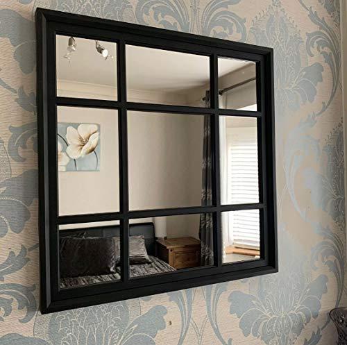 Espejo de pared con forma cuadrada negra para interiores y exteriores, estilo vintage, elegante, para ventana, 61 x 61 cm, color blanco