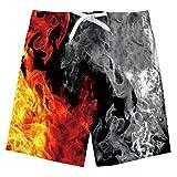 Niños Beach Short 3D Fuego Impreso Verano Divertido Secado Rápido Ropa de Playa Correr Deportes Bañador Niños Niño Junta Pantalones Cortos 14-16 Años